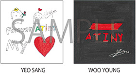 TSUTAYA (TSUTAYAオンラインショッピングは予約分のみ):メンバー手書きステッカー(YEO SANG&WOO YOUNGの2枚セット)